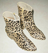 Matisse At Ease Ankle Boot 6M Leather/Real Fur Dyed Cow Hair in Leopard pattern