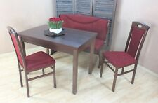 Essgruppe 4-tlg. Tisch-Ausziehbar Stühle Truhenbank Bank Farbe: Nuss/Bordeauxrot