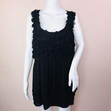 ECI Woman 2X Top Sleeveless Black Fabric Floral Applique