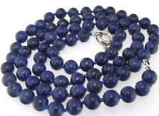 Natural Single Knotted 8mm Blue Lapis Lazuli Gemstone Beads Necklace 48 inch