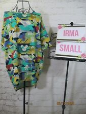 LuLaRoe NWT Disney Irma S Small Green Blue Yellow Cream Brown Abstract Mickey