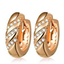 """9ct 9K Multi """"Gold Filled"""" 5x16mm Hoop Earrings Made With Swarovski Crystal E625"""