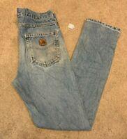 Mens Carhartt Traditional Fit Denim Blue Jeans (Size W31 L34) L16