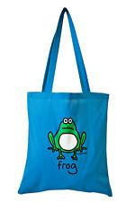 NEW TOTE BAG: FROG, Aqua Blue, 100% cotton