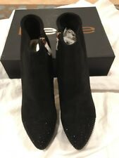 New, Bebe Anjalee Black Suede Platform High Heels Booties Crystals Womens 10