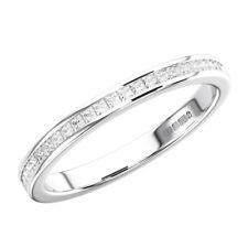Certified E-F/ VS Channel Set Princess Cut Diamonds Half Eternity Ring, Platinum