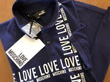 New Moschino LOVE Dark Blue Hard Cotton POLO Shirt Size Small $278