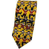 Elegance London- Silk Tie British Print UK Yellow Multi Bobbies Beefeaters Gents