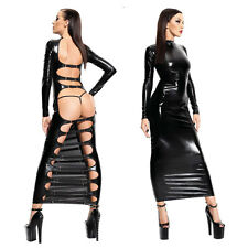 Sexy lingerie Wet pvc look Faux Leather long dress Gothic Fetish Bondage dress