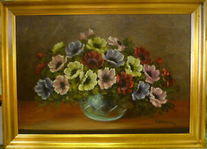 A. HAANING! STIL LIFE COMPOSITION WITH ANEMONES. NO RESERVE