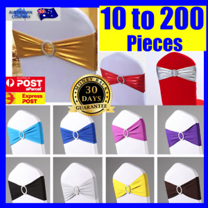 Lycra Spandex Stretch Wedding Event Banquet Chair Cover Band Sashes Buckle Bow