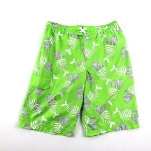OP Mens Lined Board Shorts Swimwear, Green Paranah Skeleton Pattern MJ2