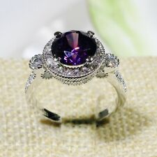 R8008 Women Fashion Jewelry 18K White Yellow Gold Amethyst Cluster Cocktail Ring