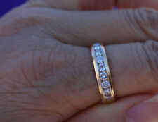 1.12ct I/VS-Si1 channel set diamond wedding anniversary band 14k YG