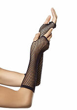 Halloween Leg Avenue Long Black Traingle Net Fishnet Gloves Fancy Dress