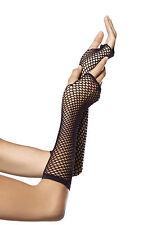 Halloween Leg Avenue Long Black Traingle Net Fishnet Gloves Fancy Dress