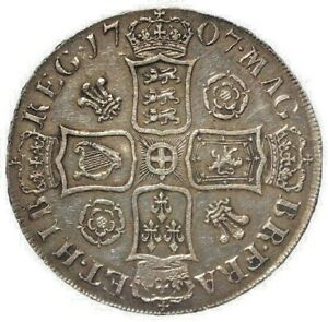 1707 VF/AEF Queen Anne Silver Crown Roses and Plums.