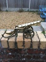 Large Heavy Vintage British Solid Brass Cannon With Ornate Wheels Well Polished