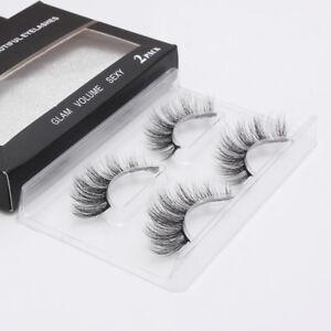 3D Faux Mink Natural False Eyelashes Makeup Volume Long Lashes Extension 2 Pairs