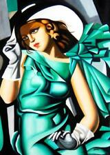 Homage To T. De Lempicka - Girl In Green With Gloves 80x110 cm Reproduction Oil