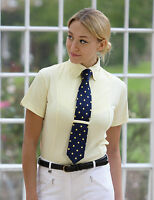 Shires ladies short sleeve riding show showing tie shirt yellow, white, blue