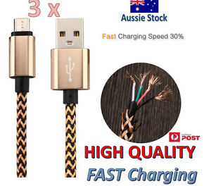 3x Micro USB Cable Fast Charging Charger Long Cord For Android Samsung Galaxy