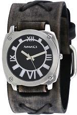 Nemesis FXB066K Men's Black Dial Dark Gray Wide Leather X Cuff Band Watch