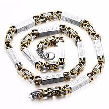 18K Gold GP Vintage Simple Classic Men's Chain Necklace White/Gold