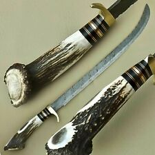 Beautiful Custom Hand Made Damascus Steel Hunting Sword Knife / Stag Handle