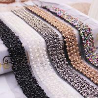 2yds Pearl Beaded Lace Trim Vintage Mesh Crystal Ribbon Sewing Hem 1.18'' Width