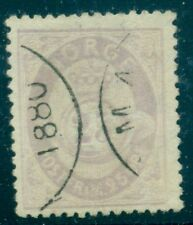 Norway #28 25ore lilac shaded posthorn, used w/1888 dated cancel Vf