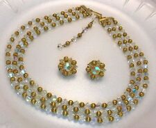 Lisner Crystal 3 Strand Necklace Earrings Set Vintage Jewelry Gold Plated