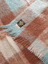 Vintage Liberty of London mohair wool blue pink brown blanket picnic throw