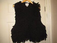 Womens Black Wool Shag Pency Long Vest Size XS