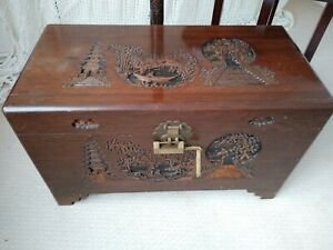 Large Camphor Wood Chest - Trunk Blanket Box Storage Hand Carved Mid Century