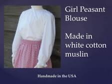 Girl Prairie Pioneer size S 5 6 peasant blouse costume white muslin cotton