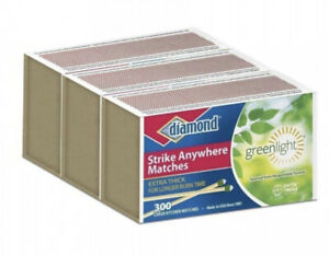 Diamond Strike Anywhere Greenlight Matches 3 Boxes of 300