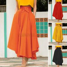 Znazea женский высокой талии плиссированные юбка, повседневная, летняя пляжная качели длинное макси-платье