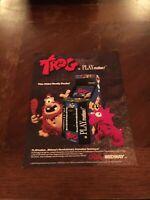 Bally/Midway Trog Video Arcade Machine Flyer, 1990 NOS