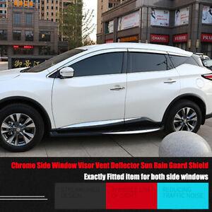 Chrome Side Window Visor Vent Deflector Sun Rain Guard Shield For Nissan Murano