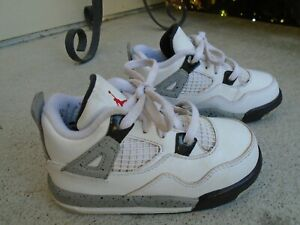 2016 JORDAN 4 RETRO TD 'CEMENT' 308500-104 LITTLE KIDS SZ US 8C Great Condition