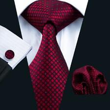 New Classic Red Plaids Checks Mens Silk Ties Necktie Hanky Cufflinks Set B-704