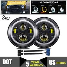 2pc 7 inch Round LED Halo Headlight Hi/Lo DRL Beam for Jeep Wrangler JK LJ TJ CJ