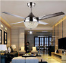 """Crystal Ceiling Fan Light LED Pendant Lamp Remote Control  Stainless Steel  44"""""""