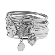 Lux Accessories Silver Tone Charm Heart Disc Crystal Rhinestone Bangle Set