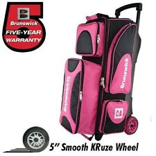 Brunswick Flash X 3 Ball Bowling Roller Bag Color Pink