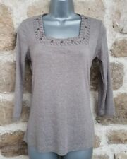 Size 10 Top GEORGE Mocha Brown Embellished Fitted Stretch VGC Women's Ladies