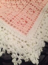 Crochet Sweet Dreams Baby Blanket Afghan Pink And White Help a Puppy!!!