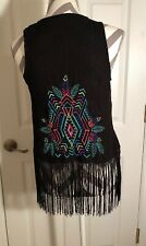 Xhilaration Black Crochet Vest Size XS With Tassels & Bright feather embroidery