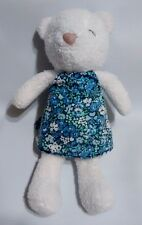 """Carters Plush White Teddy Bear Blue Floral Dress Baby Lovey 10"""" Style 15054"""